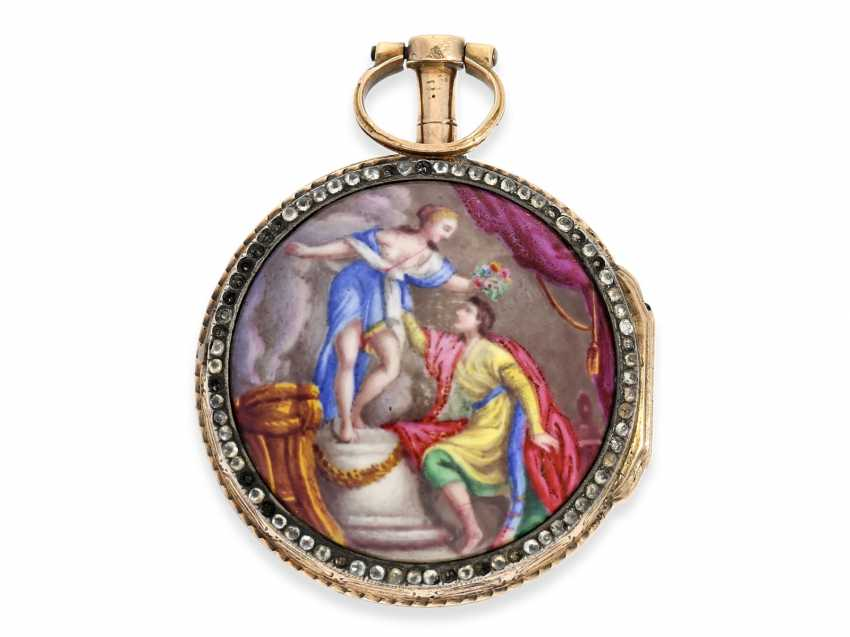 Pocket watch: very fine and very rare ladies Spindeluhr with skeletonised movement, 2 enamel paintings and stone trim, Royal watchmaker, L'Epine a Paris, CA. 1765 - photo 2