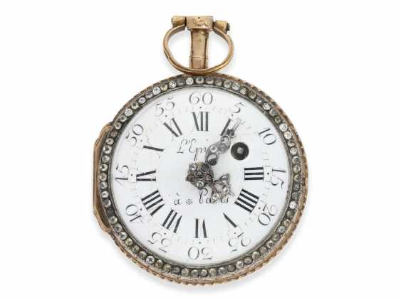 Pocket watch: very fine and very rare ladies Spindeluhr with skeletonised movement, 2 enamel paintings and stone trim, Royal watchmaker, L'Epine a Paris, CA. 1765 - photo 3