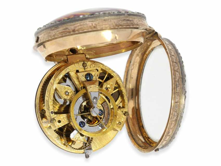 Pocket watch: very fine and very rare ladies Spindeluhr with skeletonised movement, 2 enamel paintings and stone trim, Royal watchmaker, L'Epine a Paris, CA. 1765 - photo 4