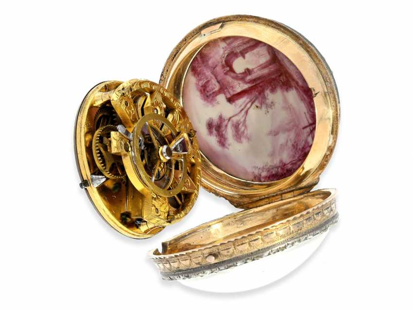 Pocket watch: very fine and very rare ladies Spindeluhr with skeletonised movement, 2 enamel paintings and stone trim, Royal watchmaker, L'Epine a Paris, CA. 1765 - photo 6