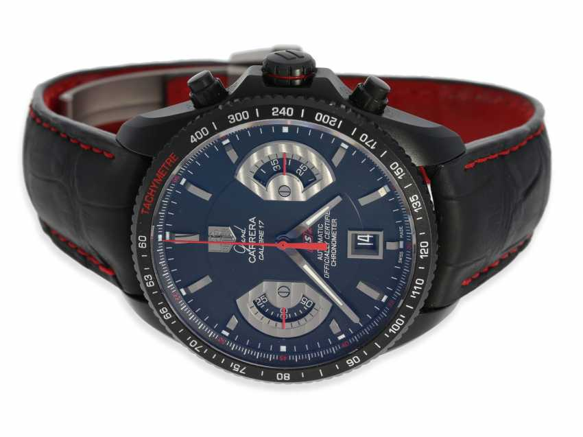 """Wrist watch: high quality, modern sports Chronograph watch, TAG Heuer """"Grand Carrera Calibre 17 RS2 titanium"""" , C. O. S. C Chronometer, complete with papers and original box (Full Set) by 2015, EIA 7.650€ - photo 2"""