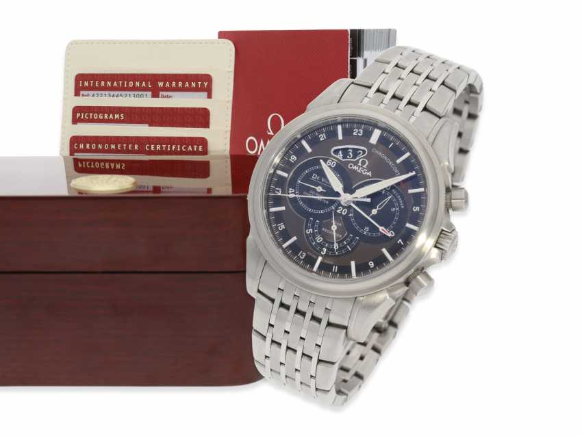 """Watch: very high quality, vintage Omega men's watch, Chronograph watch """"CHRONOSCOPE GMT"""", certified Co-Axial chronometer, Full kit with all papers and original box - photo 1"""