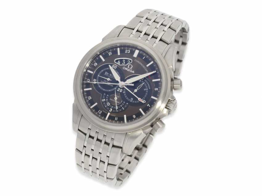 """Watch: very high quality, vintage Omega men's watch, Chronograph watch """"CHRONOSCOPE GMT"""", certified Co-Axial chronometer, Full kit with all papers and original box - photo 2"""