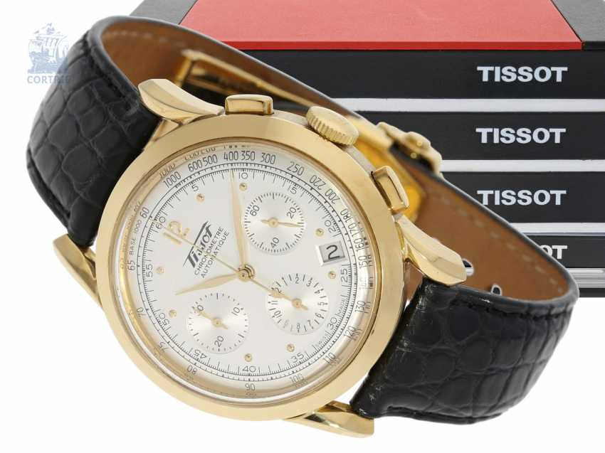 """Watch: luxurious, very rare, heavy Golden Tissot Heritage anniversary Chronograph, """"COSC CHRONOMETER"""", limited edition for the 150th anniversary. 2003 - photo 1"""