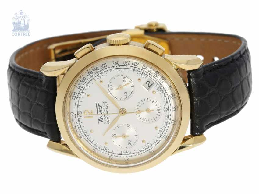 """Watch: luxurious, very rare, heavy Golden Tissot Heritage anniversary Chronograph, """"COSC CHRONOMETER"""", limited edition for the 150th anniversary. 2003 - photo 2"""