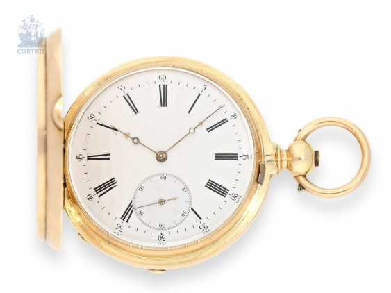 Pocket watch: especially heavy gold savonnette with chronometer escapement and drive over chain and screw, chronometer maker Monnard Geneve No. 101385, CA. 1865 - photo 1