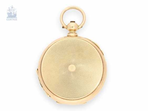 Pocket watch: especially heavy gold savonnette with chronometer escapement and drive over chain and screw, chronometer maker Monnard Geneve No. 101385, CA. 1865 - photo 2