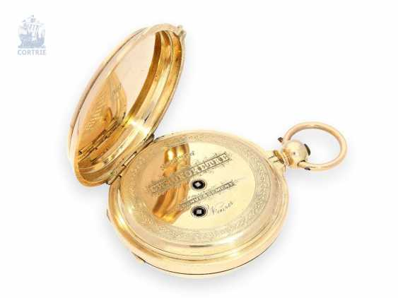 Pocket watch: especially heavy gold savonnette with chronometer escapement and drive over chain and screw, chronometer maker Monnard Geneve No. 101385, CA. 1865 - photo 3