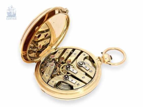Pocket watch: especially heavy gold savonnette with chronometer escapement and drive over chain and screw, chronometer maker Monnard Geneve No. 101385, CA. 1865 - photo 4