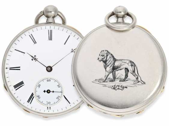 Pocket watch: rarity, extremely fine Pocket chronometer with platinum/enamel case, signed Bertot a Caen No. 4791, extremely rare and unusual inhibition, CA. 1830 - photo 1