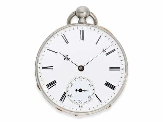 Pocket watch: rarity, extremely fine Pocket chronometer with platinum/enamel case, signed Bertot a Caen No. 4791, extremely rare and unusual inhibition, CA. 1830 - photo 3