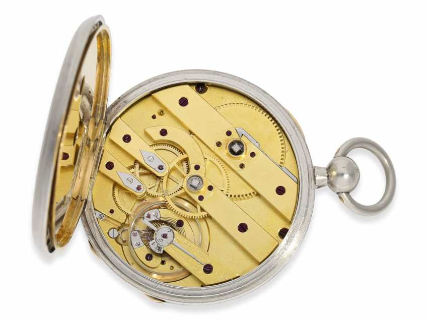 Pocket watch: rarity, extremely fine Pocket chronometer with platinum/enamel case, signed Bertot a Caen No. 4791, extremely rare and unusual inhibition, CA. 1830 - photo 4