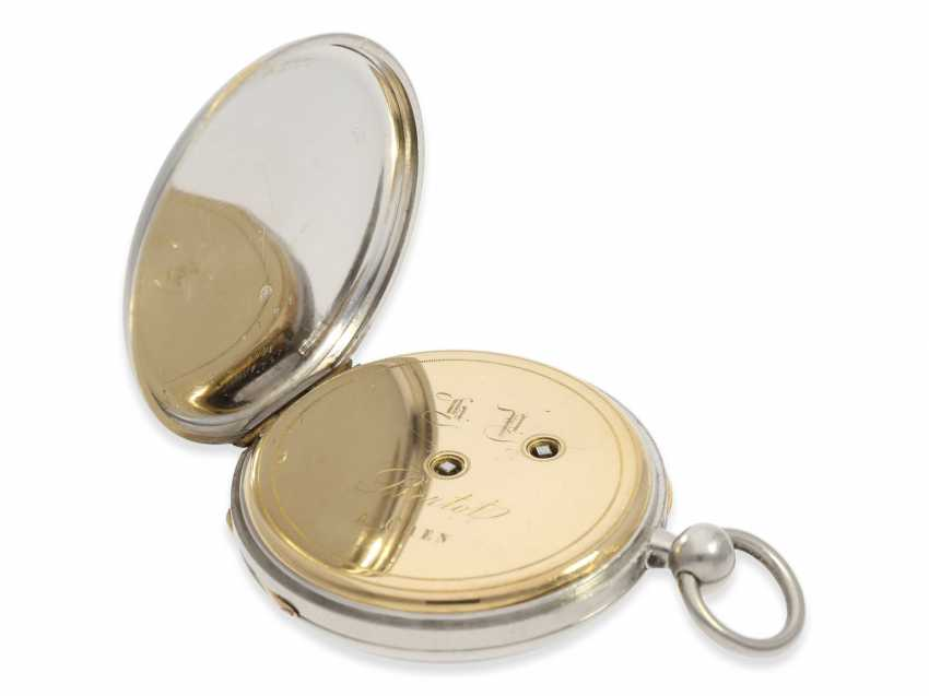 Pocket watch: rarity, extremely fine Pocket chronometer with platinum/enamel case, signed Bertot a Caen No. 4791, extremely rare and unusual inhibition, CA. 1830 - photo 6
