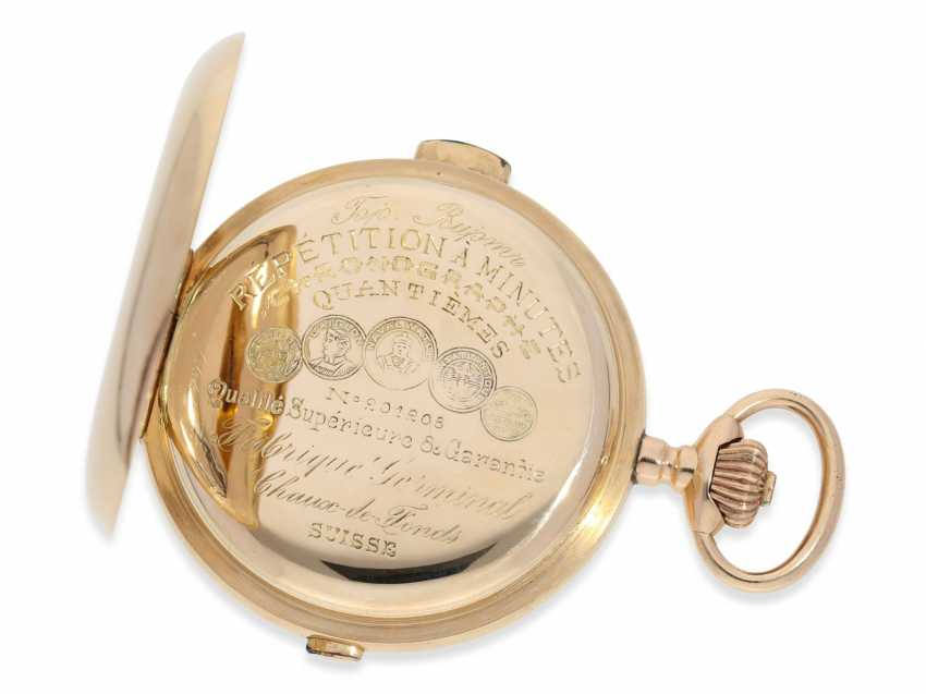 Pocket watch: very large and heavy, astronomical gold savonnette with 7 complications, including minute repeater, Picard & Cie. La Chaux-de-Fonds, made for the brothers Wirth in Russia, CA. 1895 - photo 3