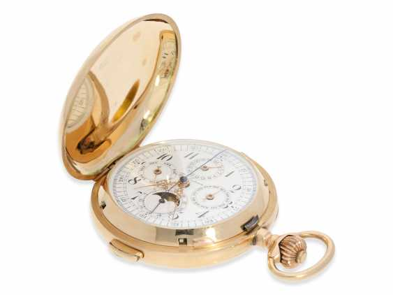 Pocket watch: very large and heavy, astronomical gold savonnette with 7 complications, including minute repeater, Picard & Cie. La Chaux-de-Fonds, made for the brothers Wirth in Russia, CA. 1895 - photo 5