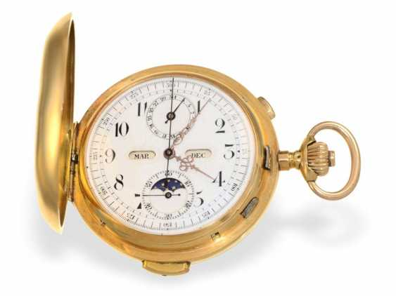 Pocket watch: heavy, astronomical gold savonnette with 6 complications, Invicta 1890 - photo 1