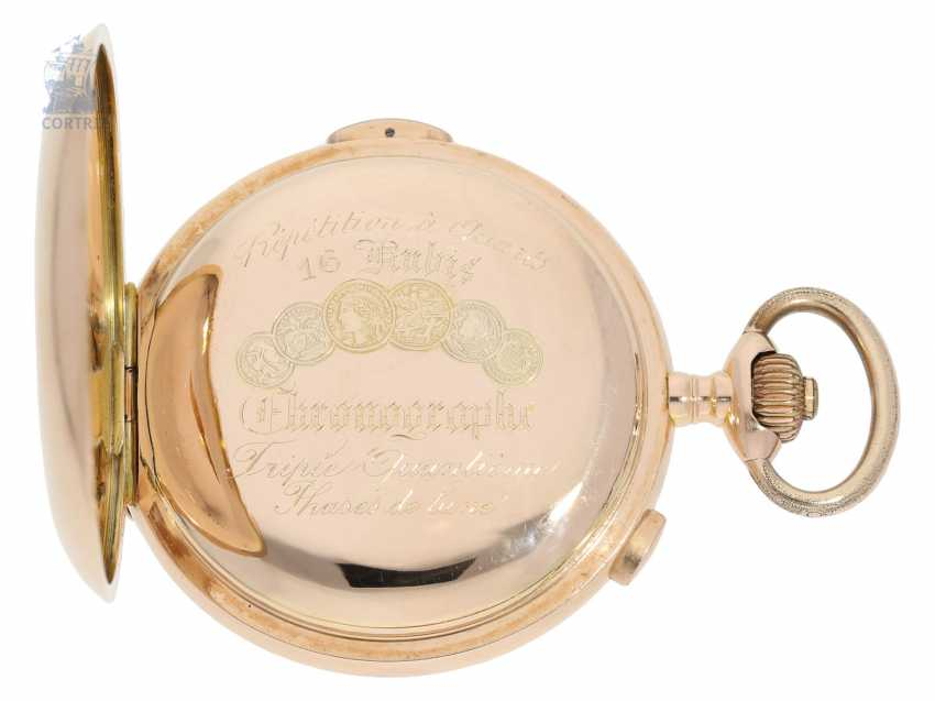 Pocket watch: heavy and especially large, complicated astronomical gold savonnette, Louis Brandt & Fils; Biel, CA. 1900 - photo 7