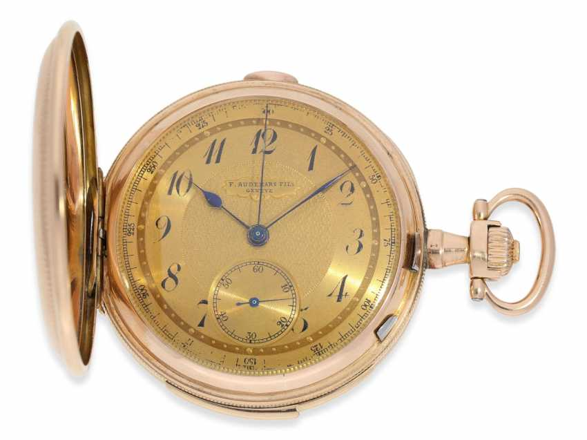 Pocket watch: heavy, very fine red-gold Savonnette minute repeater and Chronograph, Audemars Fils, Geneve, No. 136055, made for the Russian market, CA. 1900 - photo 1