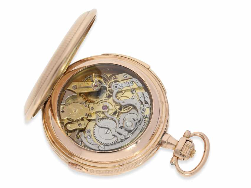 Pocket watch: heavy, very fine red-gold Savonnette minute repeater and Chronograph, Audemars Fils, Geneve, No. 136055, made for the Russian market, CA. 1900 - photo 2