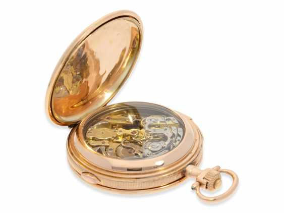 Pocket watch: heavy, very fine red-gold Savonnette minute repeater and Chronograph, Audemars Fils, Geneve, No. 136055, made for the Russian market, CA. 1900 - photo 3