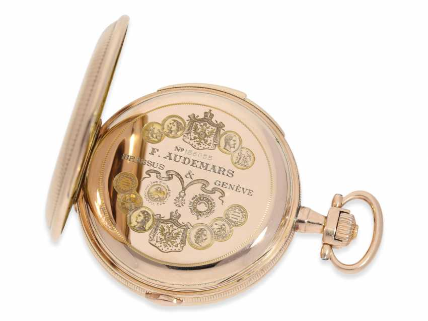 Pocket watch: heavy, very fine red-gold Savonnette minute repeater and Chronograph, Audemars Fils, Geneve, No. 136055, made for the Russian market, CA. 1900 - photo 5