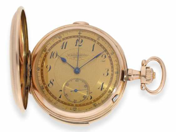Pocket watch: heavy, very fine red-gold Savonnette minute repeater and Chronograph, Audemars Fils, Geneve, No. 136055, made for the Russian market, CA. 1900 - photo 6