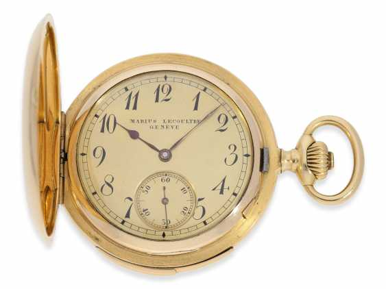 Pocket watch: heavy and high fine gold savonnette minute repeater, Marious Lecoultre Geneve No. 3956, CA. 1904 - photo 1