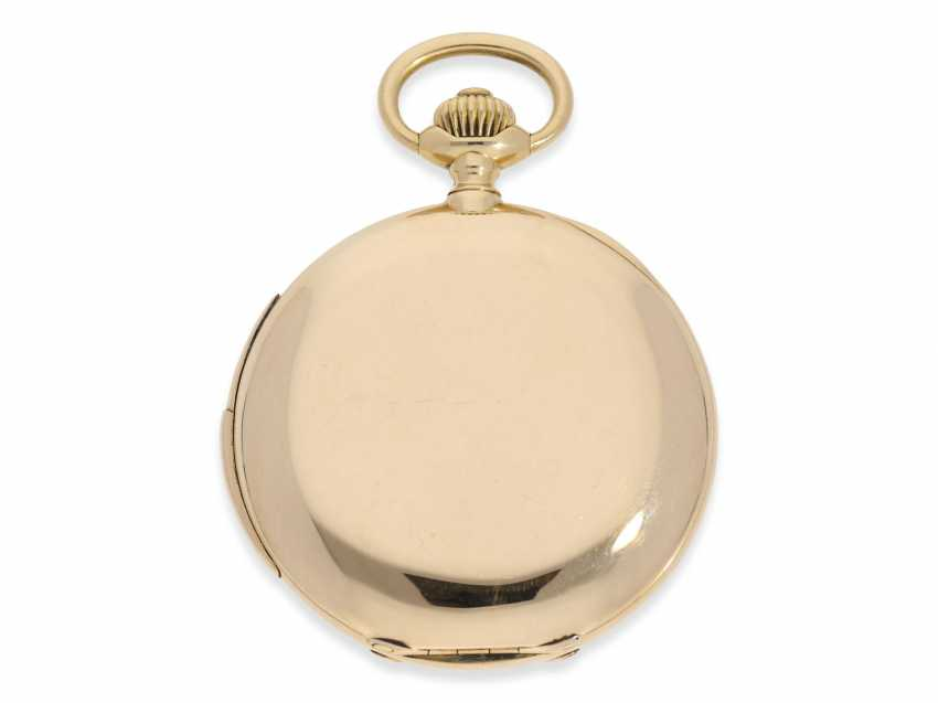 Pocket watch: heavy and high fine gold savonnette minute repeater, Marious Lecoultre Geneve No. 3956, CA. 1904 - photo 2