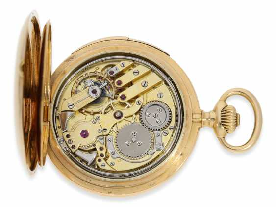 Pocket watch: heavy and high fine gold savonnette minute repeater, Marious Lecoultre Geneve No. 3956, CA. 1904 - photo 4