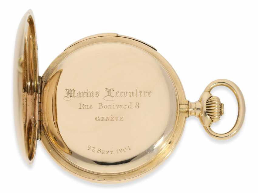 Pocket watch: heavy and high fine gold savonnette minute repeater, Marious Lecoultre Geneve No. 3956, CA. 1904 - photo 5
