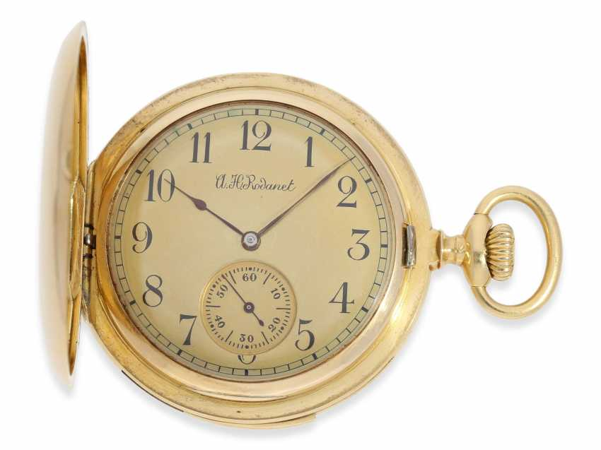 Pocket watch: gold savonnette of exquisite quality, minute repeater, chronometer maker Rodanet, Paris, No. 15351, caliber, presumably, Audemars Piguet, CA. 1910 - photo 1