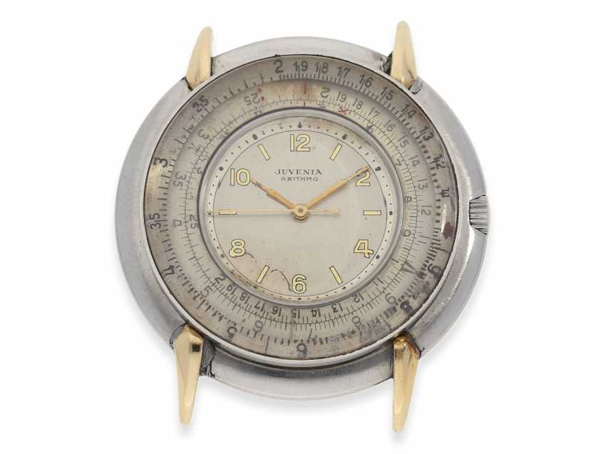 """Watch: rarity, extremely rare vintage men's watch with slide rule function """"JUVENIA ARITHMO"""", CA. 1950 - photo 1"""