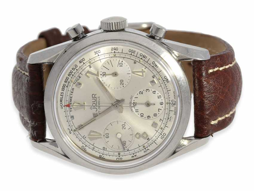 """Watch: extremely attractive """"oversize"""" steel-Chronograph Le Jour Valjoux 72, 50s - photo 1"""
