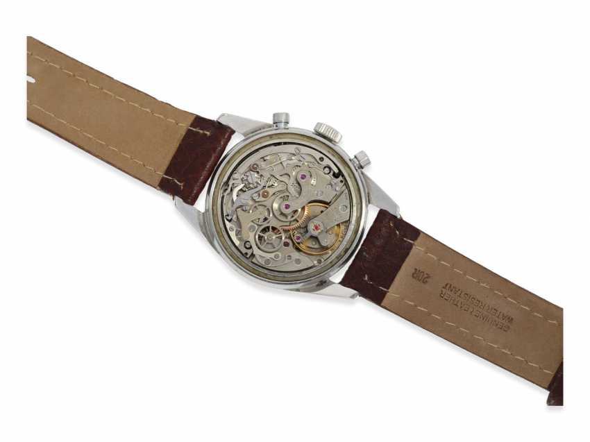 """Watch: extremely attractive """"oversize"""" steel-Chronograph Le Jour Valjoux 72, 50s - photo 4"""