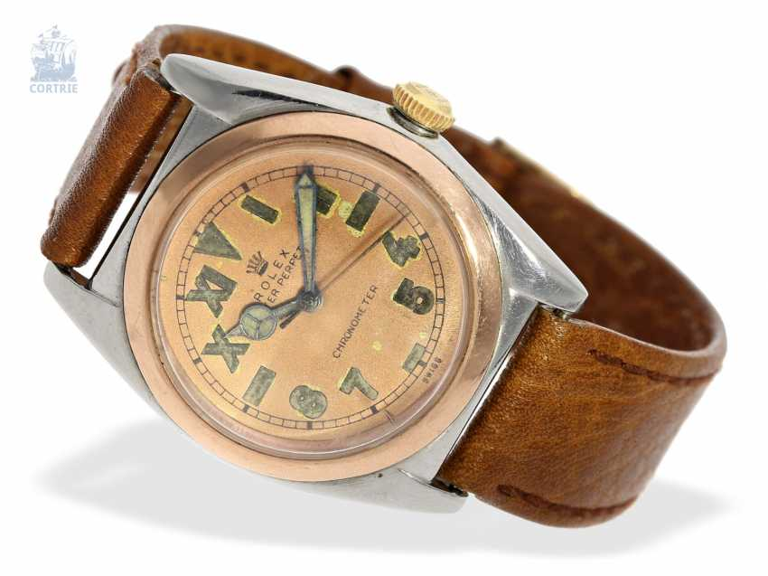 "Watch: very rare Rolex men's watch from 1944, ""ROLEX REF. 3133 BUBBLE BACK PINK CALIFORNIA DIAL STEEL/PINK GOLD"" - photo 1"