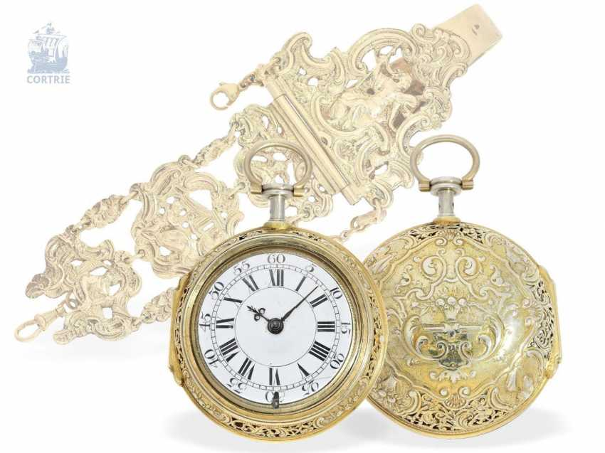 Pocket watch: magnificent English double case-Spindeluhr with Repetition and Chatelaine, Francis Gregg, London No. 6226, London 1691-1747 - photo 1