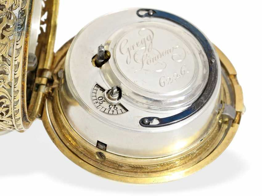 Pocket watch: magnificent English double case-Spindeluhr with Repetition and Chatelaine, Francis Gregg, London No. 6226, London 1691-1747 - photo 2