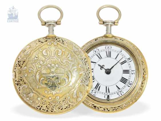 Pocket watch: magnificent English double case-Spindeluhr with Repetition and Chatelaine, Francis Gregg, London No. 6226, London 1691-1747 - photo 6