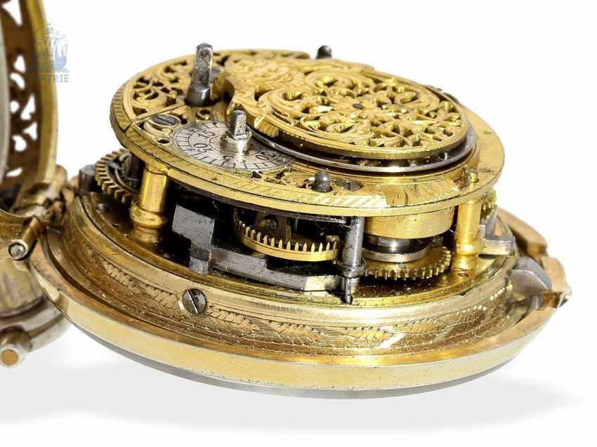 Pocket watch: magnificent English double case-Spindeluhr with Repetition and Chatelaine, Francis Gregg, London No. 6226, London 1691-1747 - photo 8