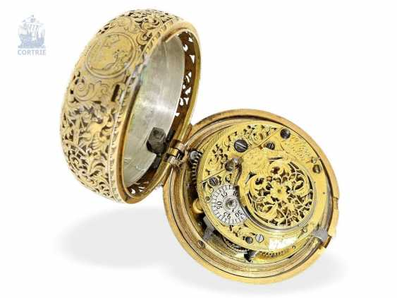 Pocket watch: magnificent English double case-Spindeluhr with Repetition and Chatelaine, Francis Gregg, London No. 6226, London 1691-1747 - photo 9