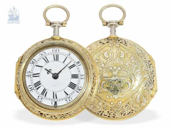 Pocket watch: magnificent English double case-Spindeluhr with Repetition and Chatelaine, Francis Gregg, London No. 6226, London 1691-1747 - photo 11