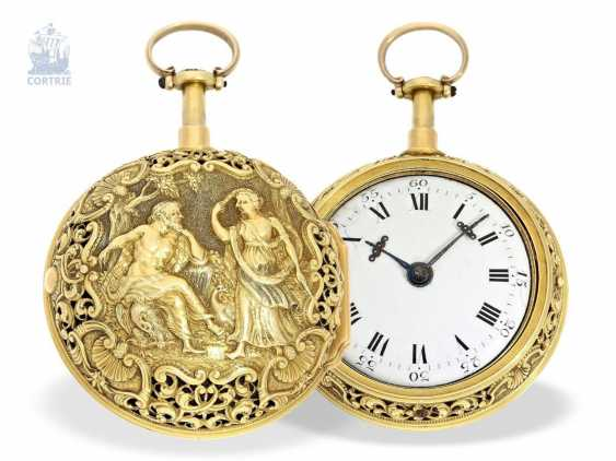 Pocket watch: a magnificent, Museum-like, double-enclosure-repair, replace-Spindeluhr of outstanding quality, 1/8 Repetition, Charles Cabrier, London, around 1730 - photo 1