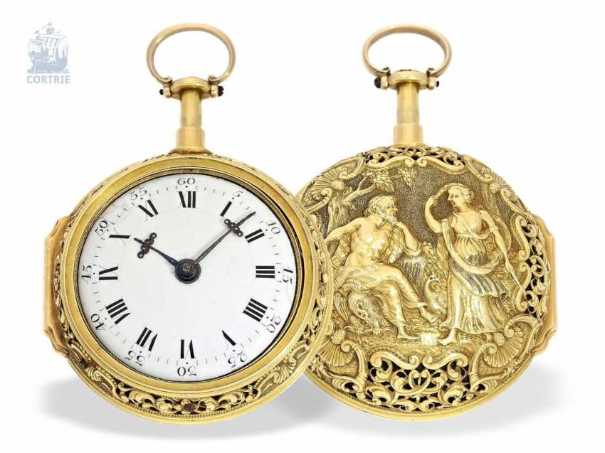 Pocket watch: a magnificent, Museum-like, double-enclosure-repair, replace-Spindeluhr of outstanding quality, 1/8 Repetition, Charles Cabrier, London, around 1730 - photo 6