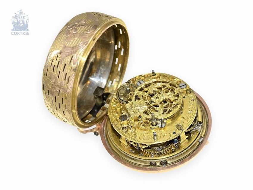 Pocket watch: Golden double-enclosure-repair, replace-Spindeluhr with hour Repetition, Charles Cabrier of London, around 1760 - photo 3