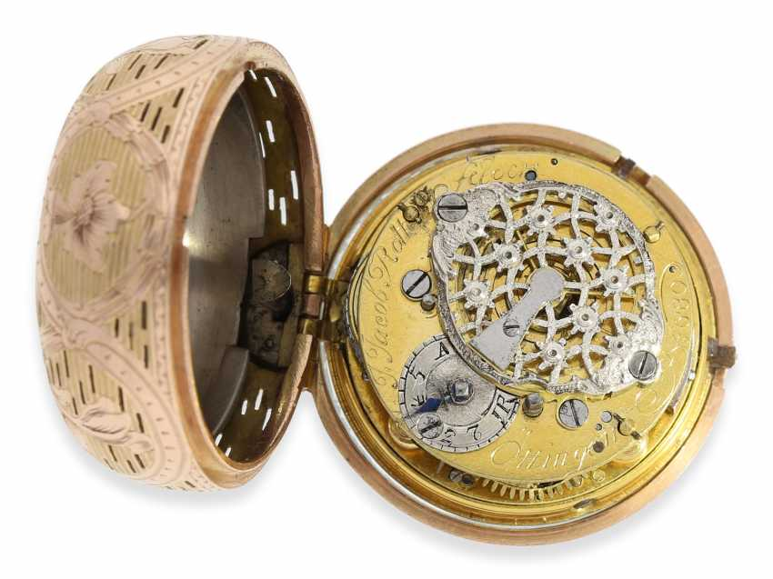 Pocket watch: rare and exceptionally beautiful Bavarian Bicolour repair, replace, double-housing Spindeluhr with Repetition, Jacob rotten fields Öttingen No. 680, CA. 1760 - photo 3