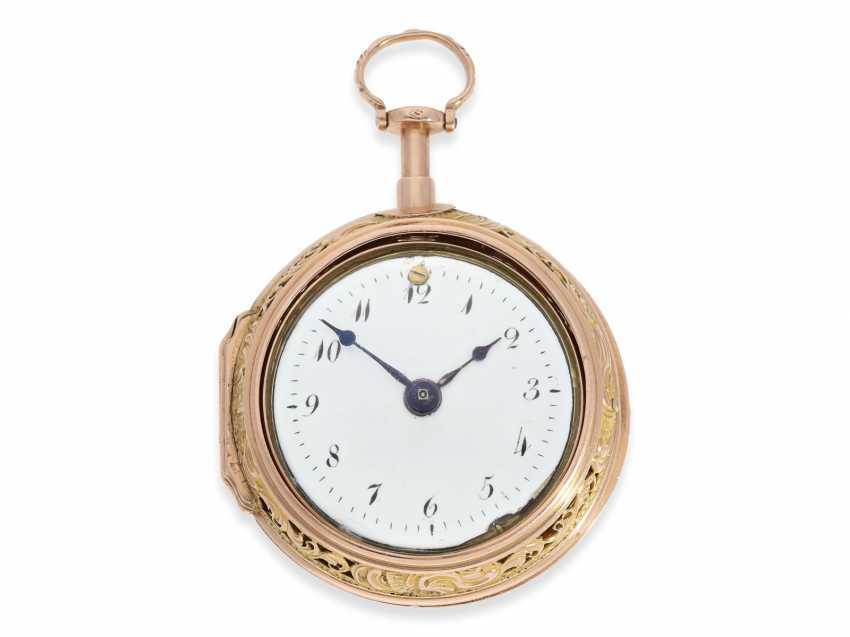 Pocket watch: rare and exceptionally beautiful Bavarian Bicolour repair, replace, double-housing Spindeluhr with Repetition, Jacob rotten fields Öttingen No. 680, CA. 1760 - photo 6