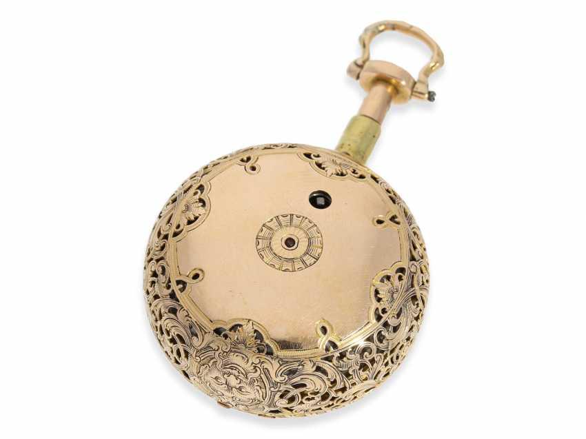 Pocket watch: extremely magnificent 18K dual enclosure-repair, replace-Spindeluhr with percussion, fantastic housing quality, Gédéon Esquivillon Genève, No. 3153, CA. 1750 - photo 2