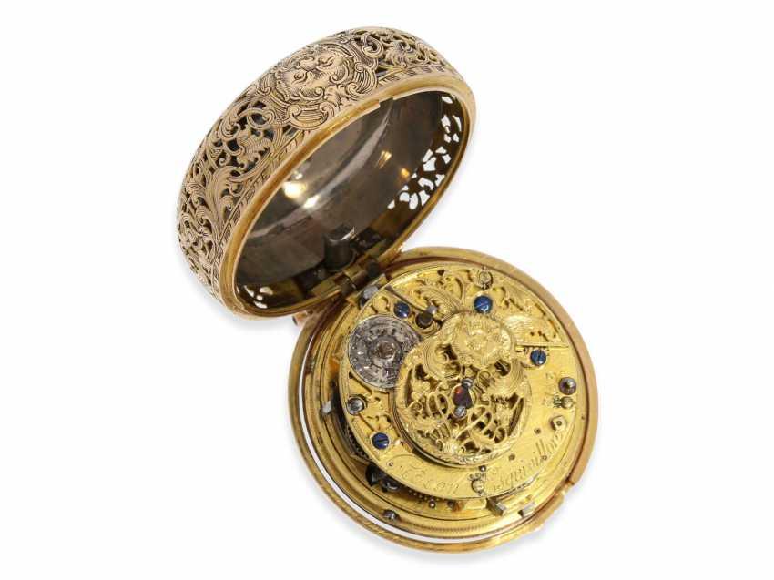 Pocket watch: extremely magnificent 18K dual enclosure-repair, replace-Spindeluhr with percussion, fantastic housing quality, Gédéon Esquivillon Genève, No. 3153, CA. 1750 - photo 3