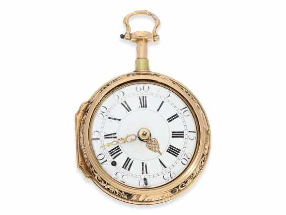 Pocket watch: extremely magnificent 18K dual enclosure-repair, replace-Spindeluhr with percussion, fantastic housing quality, Gédéon Esquivillon Genève, No. 3153, CA. 1750 - photo 7