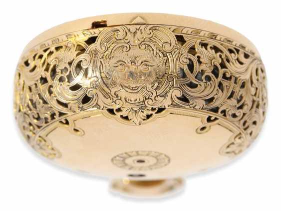 Pocket watch: extremely magnificent 18K dual enclosure-repair, replace-Spindeluhr with percussion, fantastic housing quality, Gédéon Esquivillon Genève, No. 3153, CA. 1750 - photo 8